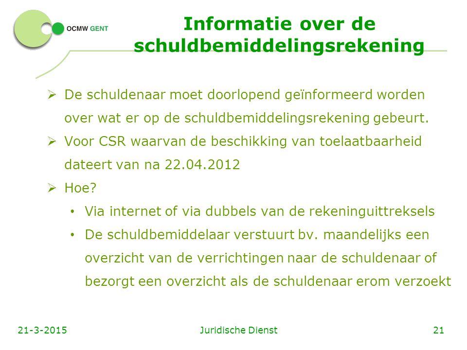 Informatie over de schuldbemiddelingsrekening