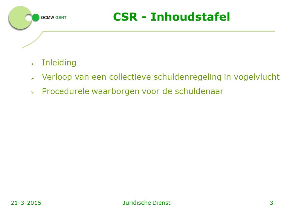 CSR - Inhoudstafel Inleiding