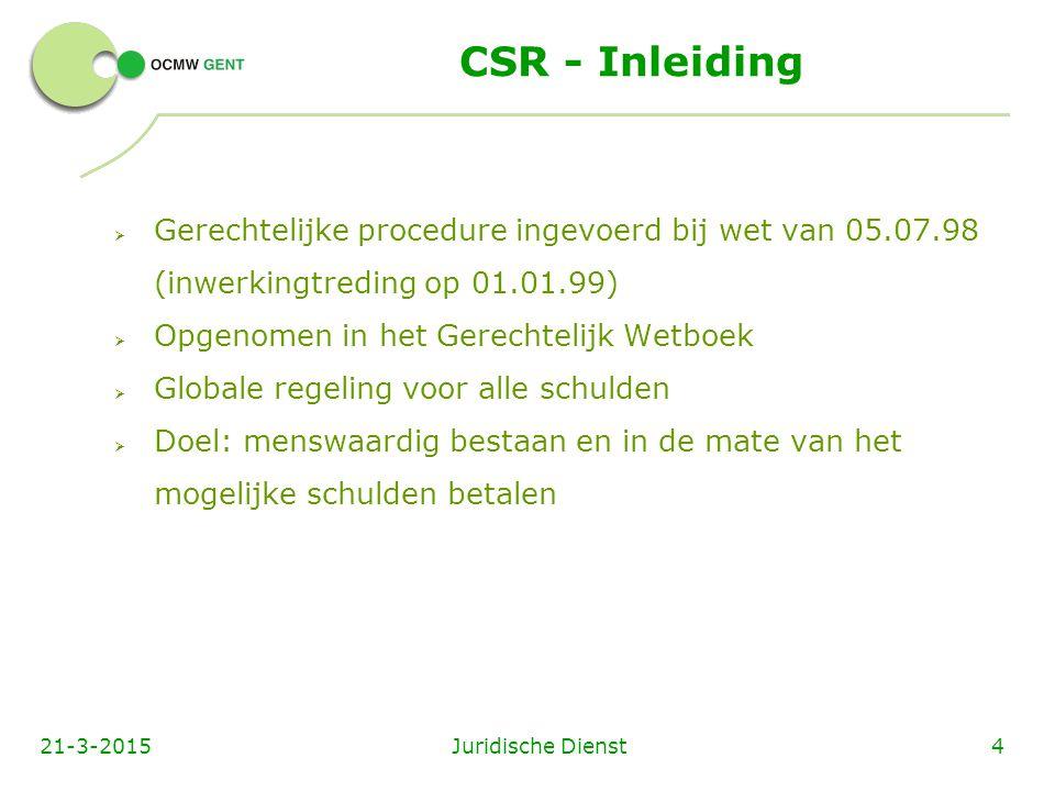 CSR - Inleiding Gerechtelijke procedure ingevoerd bij wet van 05.07.98 (inwerkingtreding op 01.01.99)