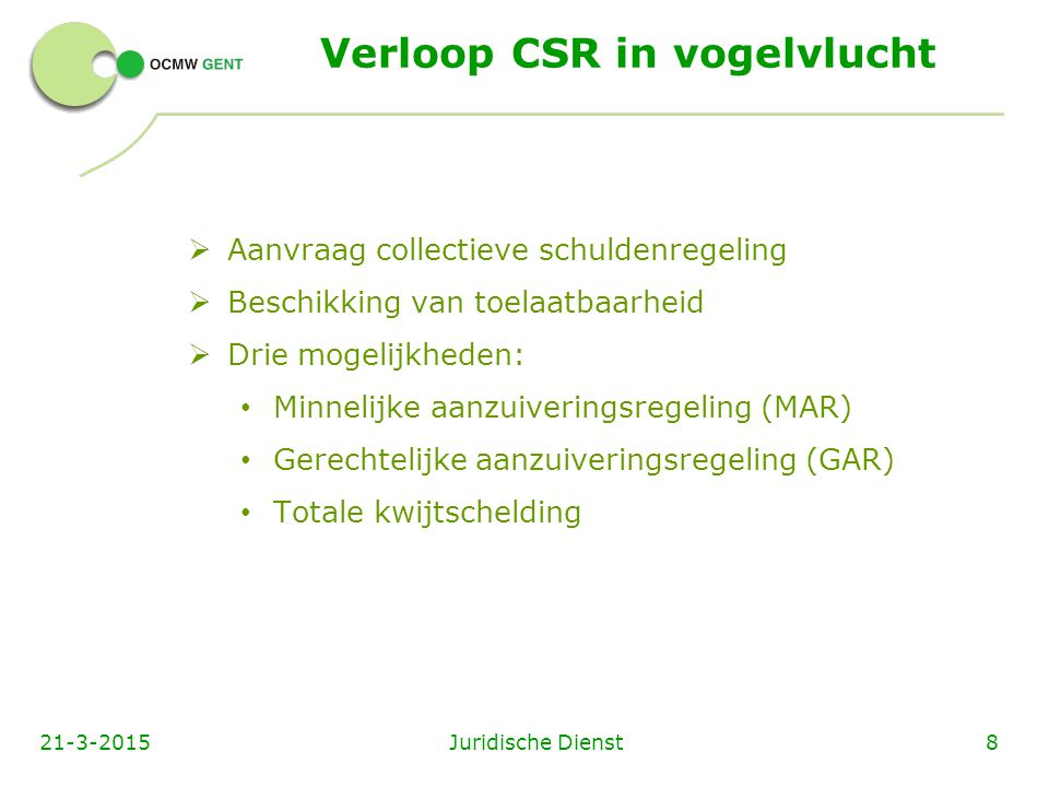 Verloop CSR in vogelvlucht