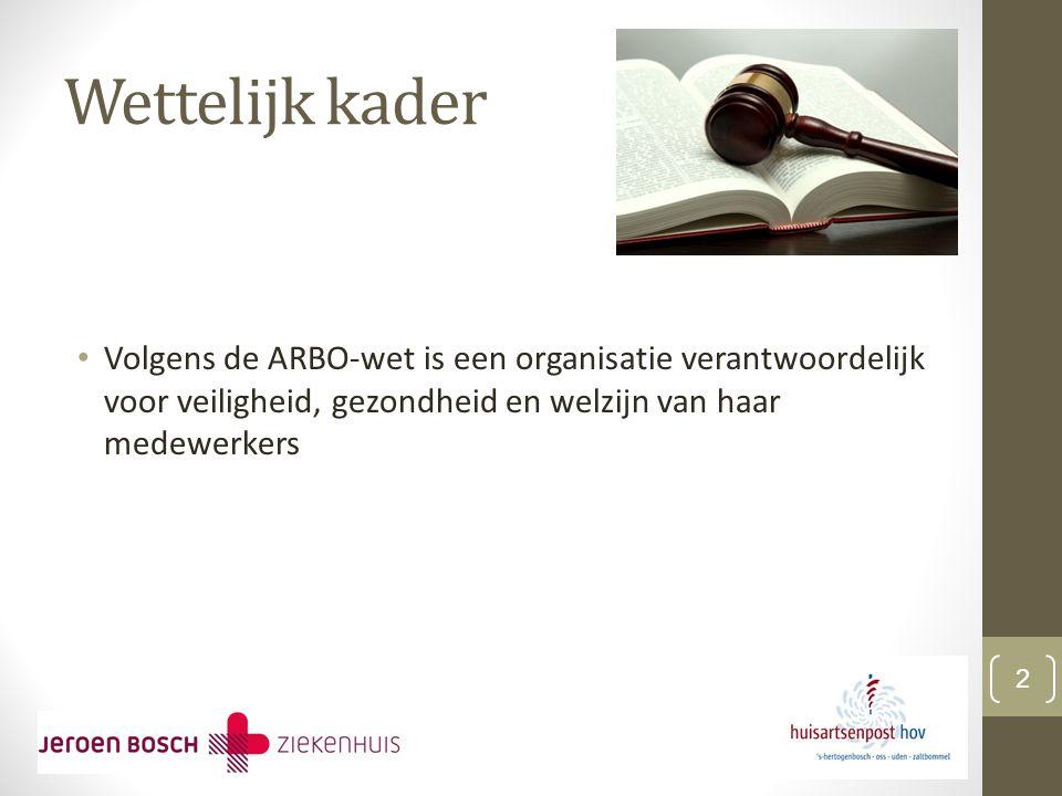 Wettelijk kader Volgens de ARBO-wet is een organisatie verantwoordelijk voor veiligheid, gezondheid en welzijn van haar medewerkers.