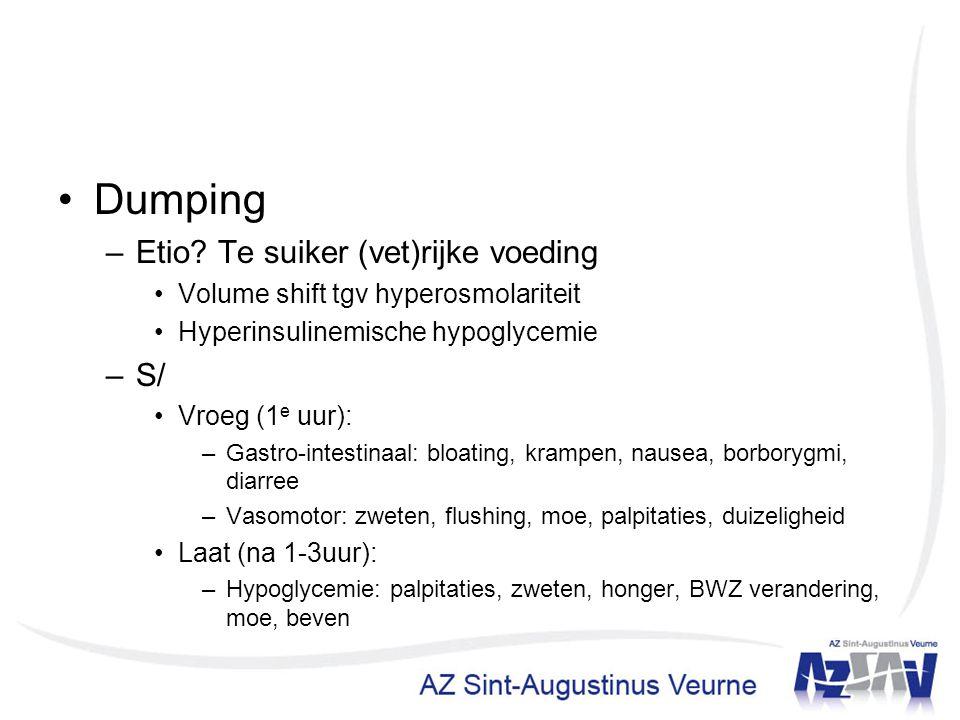 Dumping Etio Te suiker (vet)rijke voeding S/