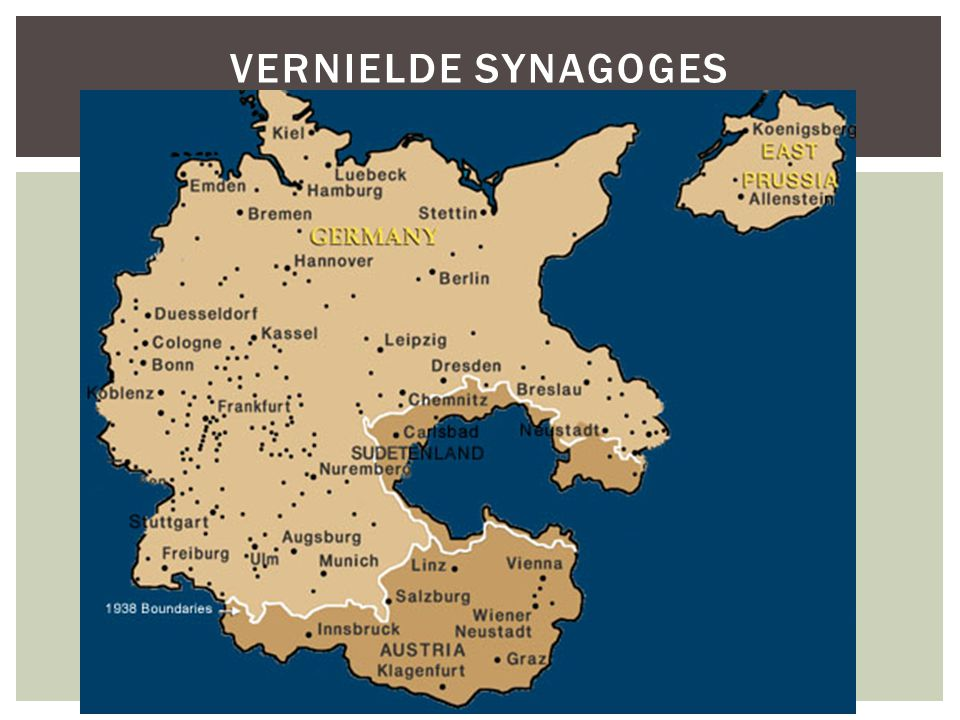 Vernielde synagoges Dots represent cities where synagogues were destroyed
