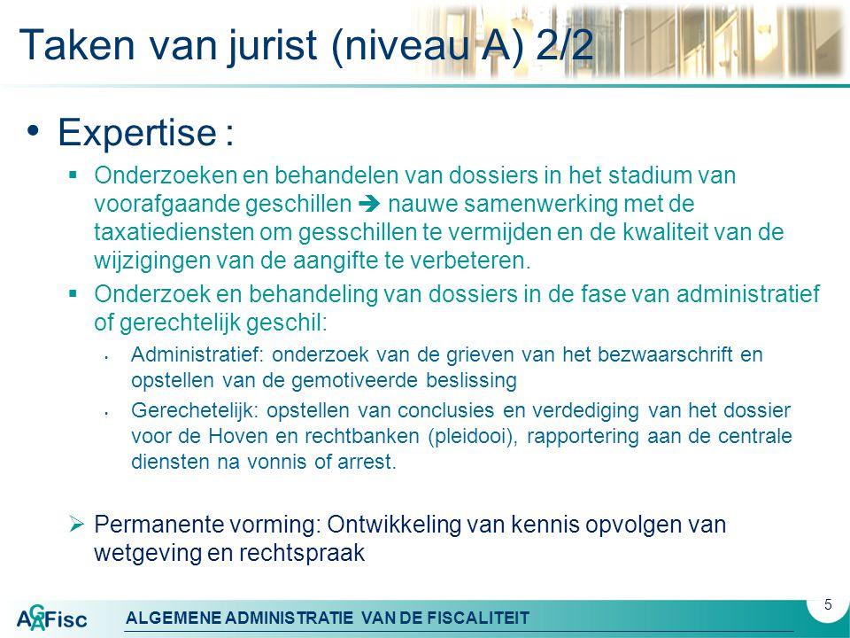 Taken van jurist (niveau A) 2/2