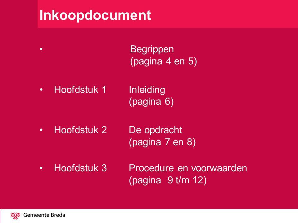 Inkoopdocument Begrippen (pagina 4 en 5) Hoofdstuk 1 Inleiding