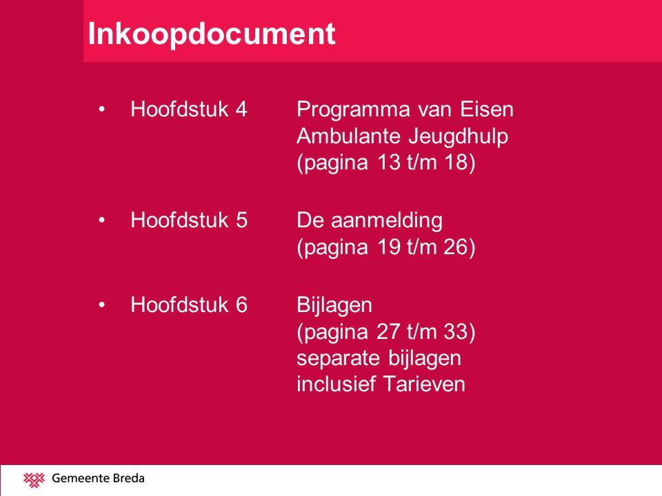 Inkoopdocument Hoofdstuk 4 Programma van Eisen Ambulante Jeugdhulp