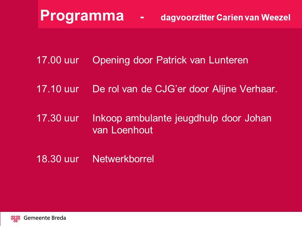 Programma - dagvoorzitter Carien van Weezel