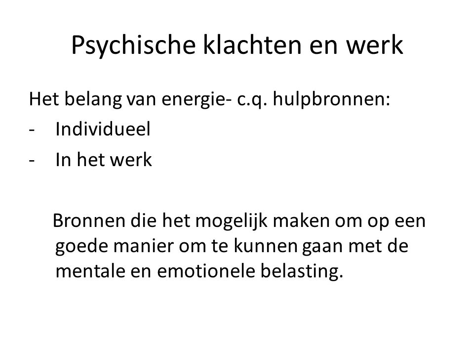 Psychische klachten en werk