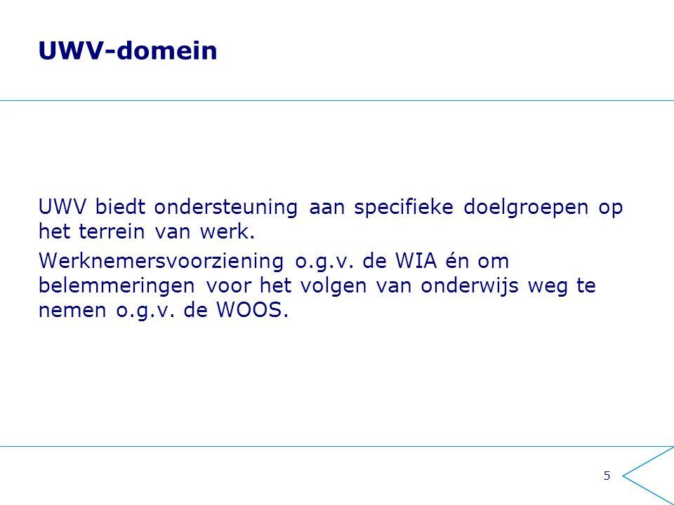 UWV-domein UWV biedt ondersteuning aan specifieke doelgroepen op het terrein van werk.