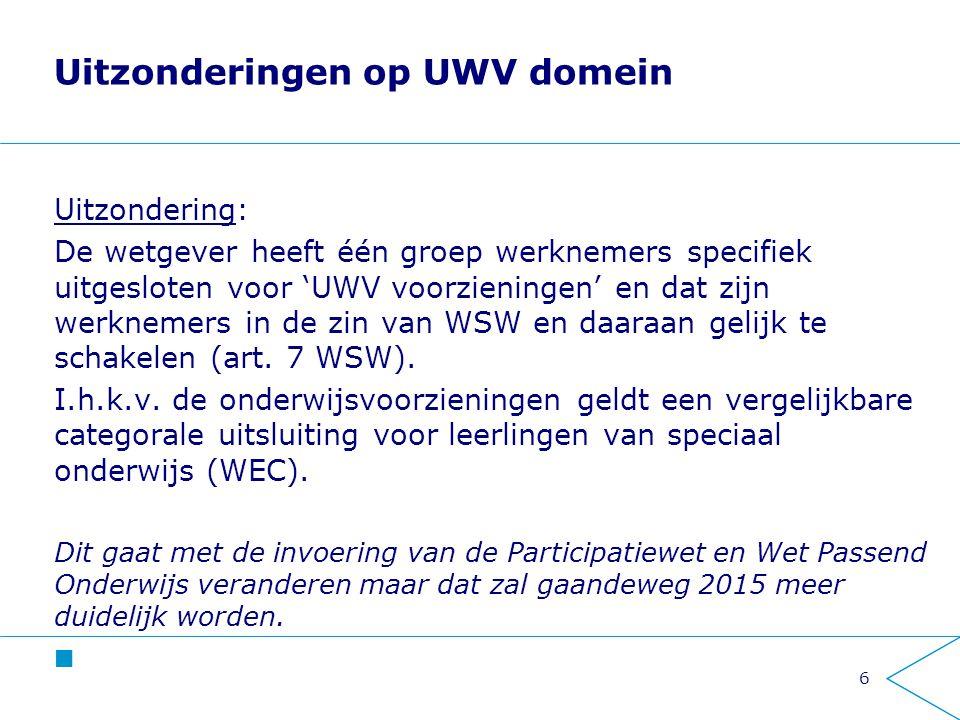 Uitzonderingen op UWV domein