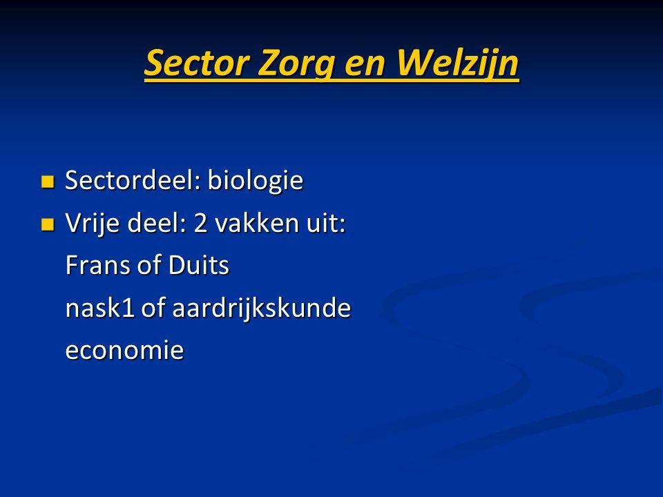 Sector Zorg en Welzijn Sectordeel: biologie Vrije deel: 2 vakken uit: