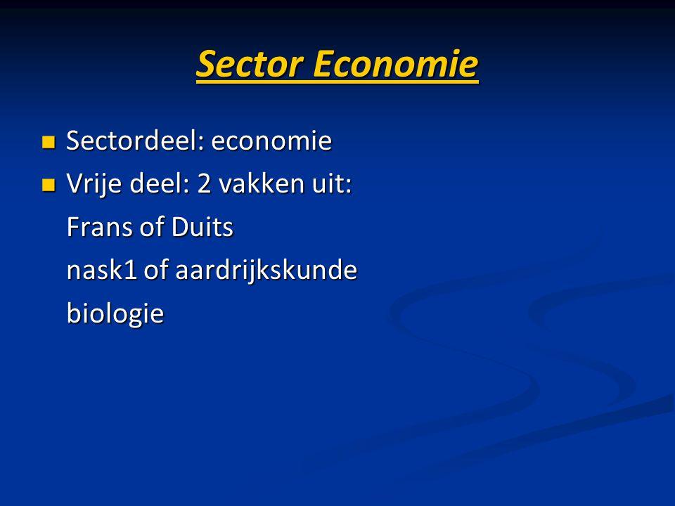 Sector Economie Sectordeel: economie Vrije deel: 2 vakken uit: