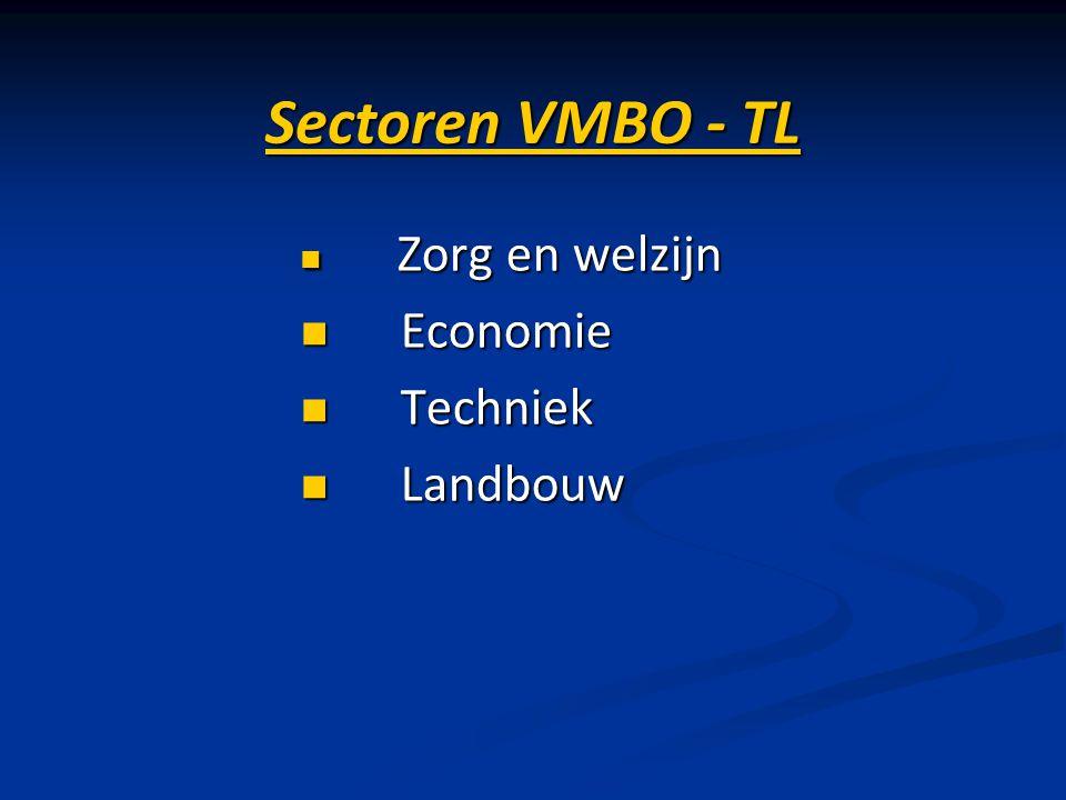 Sectoren VMBO - TL Zorg en welzijn Economie Techniek Landbouw