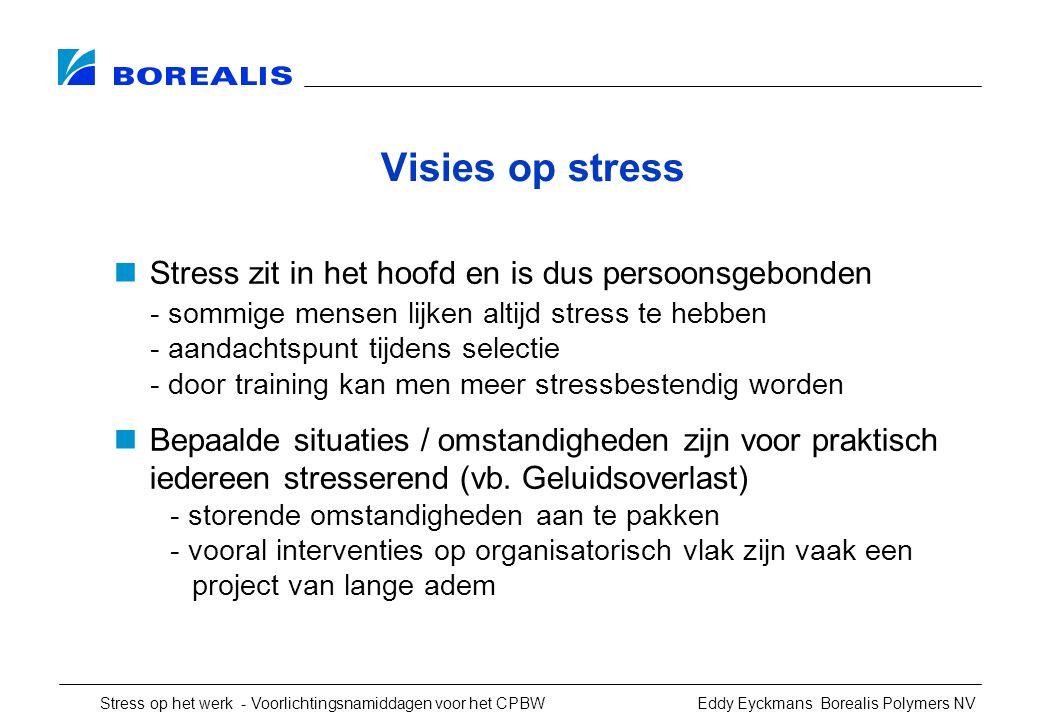Visies op stress Stress zit in het hoofd en is dus persoonsgebonden
