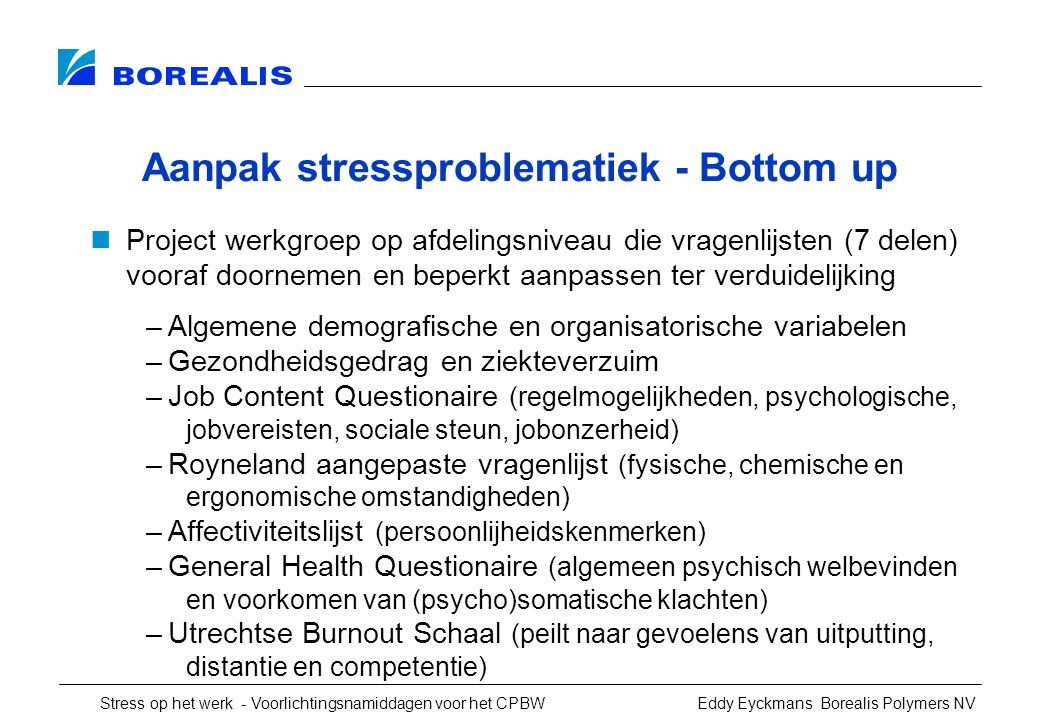 Aanpak stressproblematiek - Bottom up