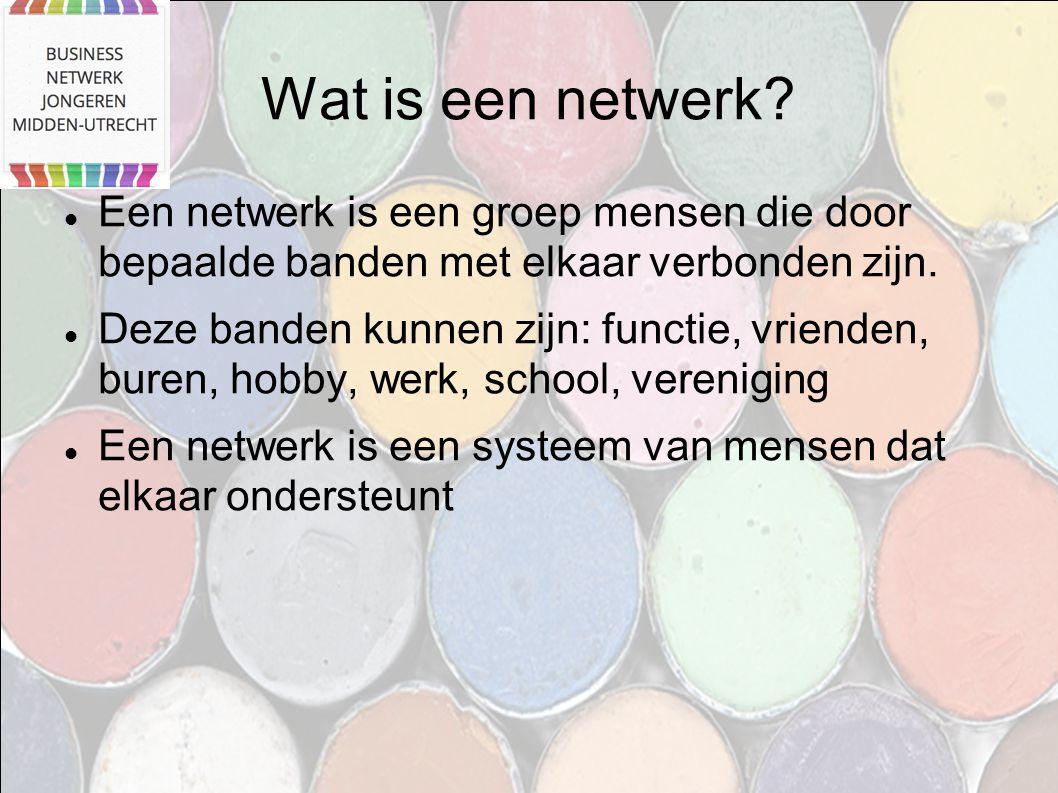 Wat is een netwerk Een netwerk is een groep mensen die door bepaalde banden met elkaar verbonden zijn.