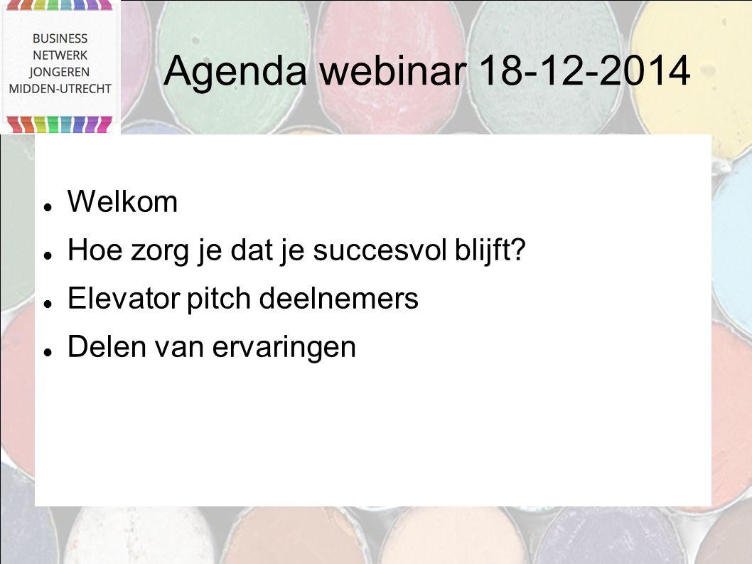 Agenda webinar 18-12-2014 Welkom Hoe zorg je dat je succesvol blijft