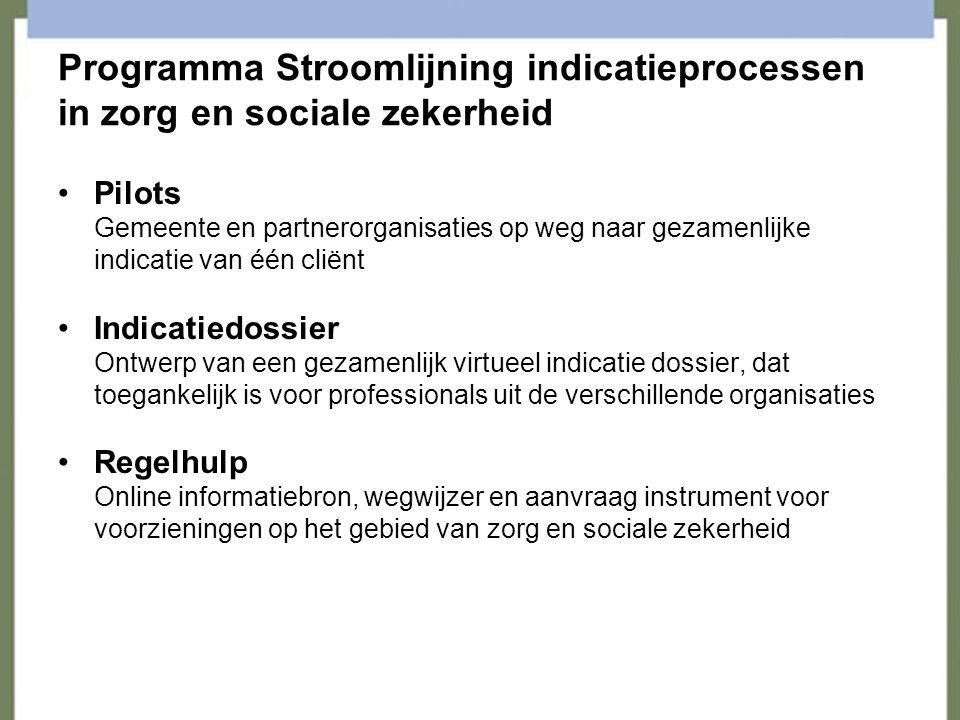 Programma Stroomlijning indicatieprocessen in zorg en sociale zekerheid