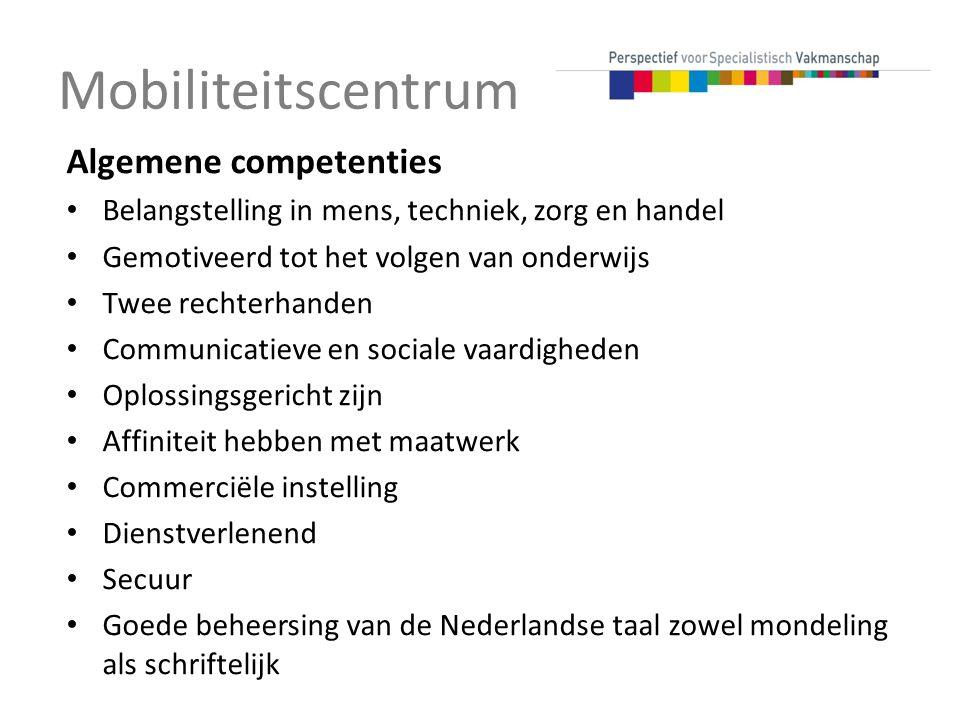 Mobiliteitscentrum Algemene competenties
