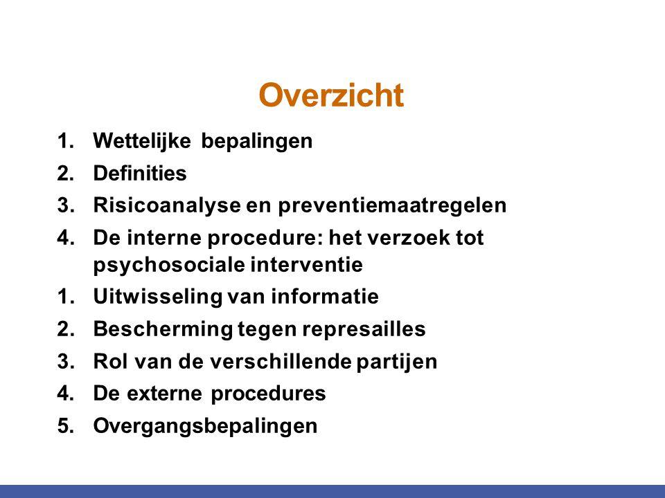 Overzicht Wettelijke bepalingen Definities