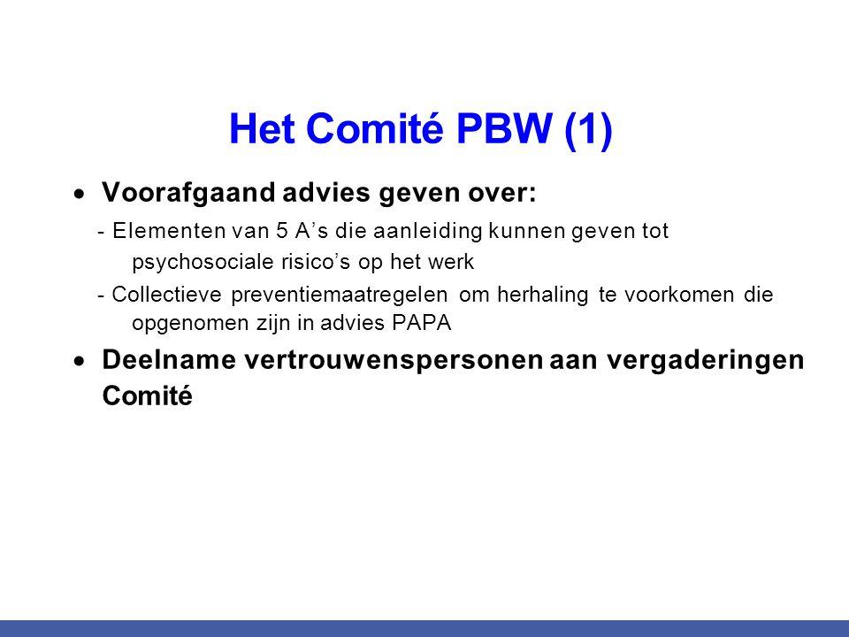 Het Comité PBW (1) Voorafgaand advies geven over: