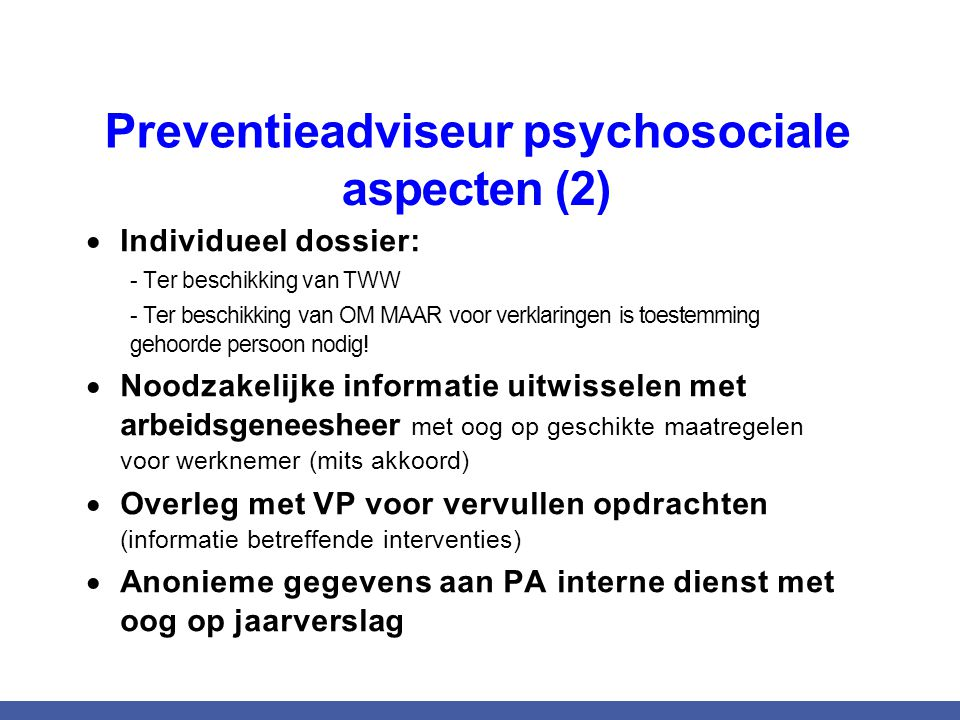 Preventieadviseur psychosociale aspecten (2)