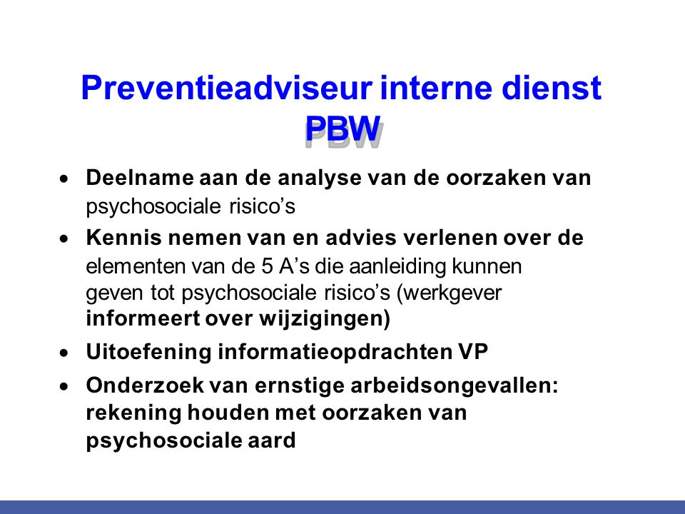 Preventieadviseur interne dienst PBW