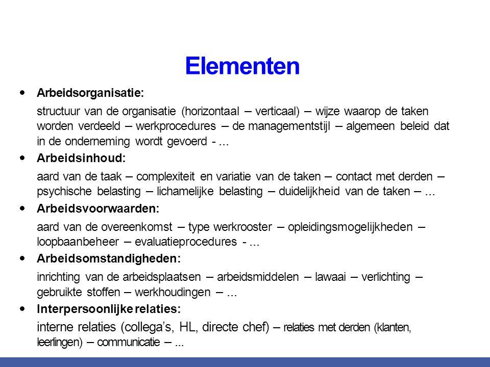 Elementen Arbeidsorganisatie: