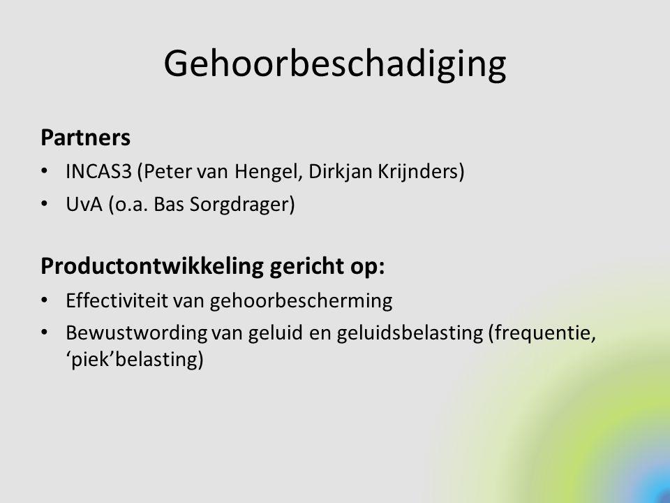 Gehoorbeschadiging Partners Productontwikkeling gericht op: