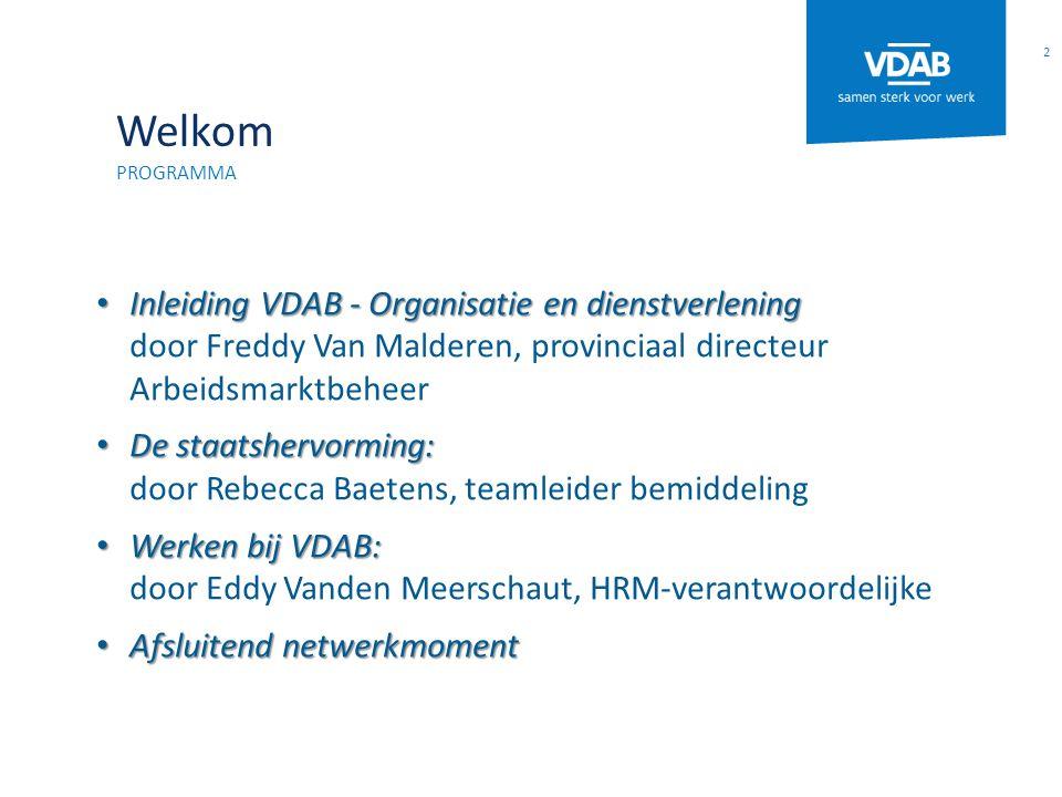 Welkom Programma. Inleiding VDAB - Organisatie en dienstverlening door Freddy Van Malderen, provinciaal directeur Arbeidsmarktbeheer.