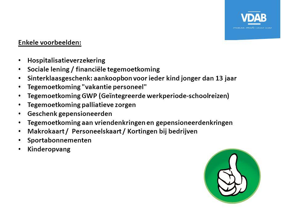 Enkele voorbeelden: Hospitalisatieverzekering. Sociale lening / financiële tegemoetkoming.