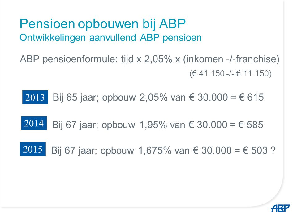 Pensioen opbouwen bij ABP Ontwikkelingen aanvullend ABP pensioen