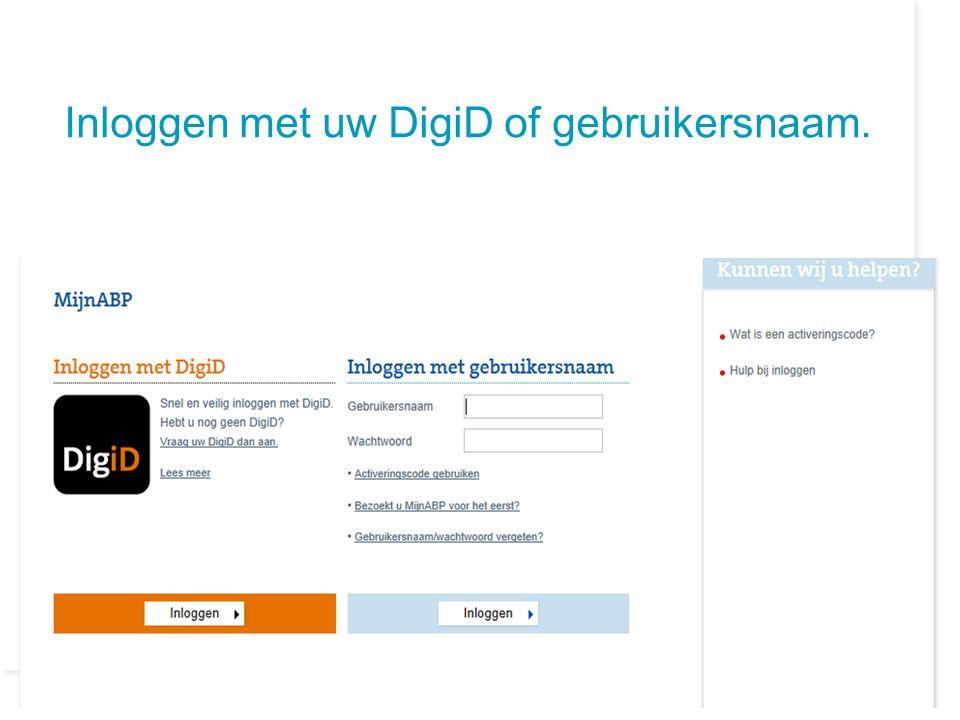 Inloggen met uw DigiD of gebruikersnaam.