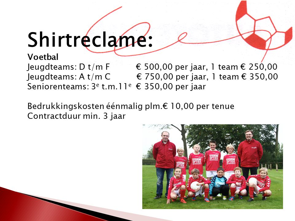 Shirtreclame: Voetbal