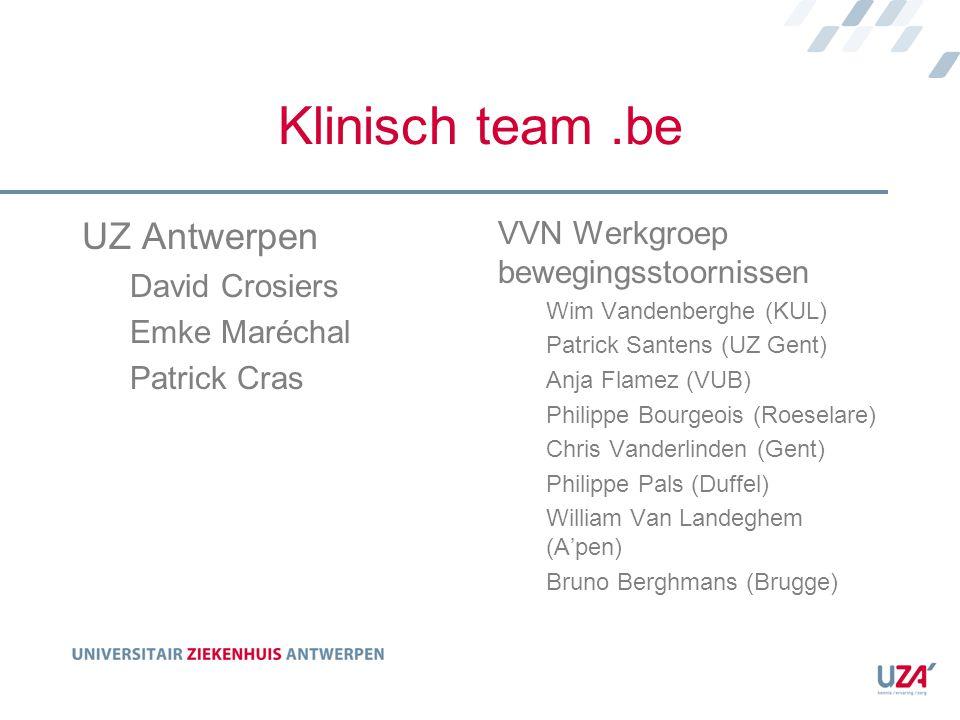 Klinisch team .be UZ Antwerpen VVN Werkgroep bewegingsstoornissen