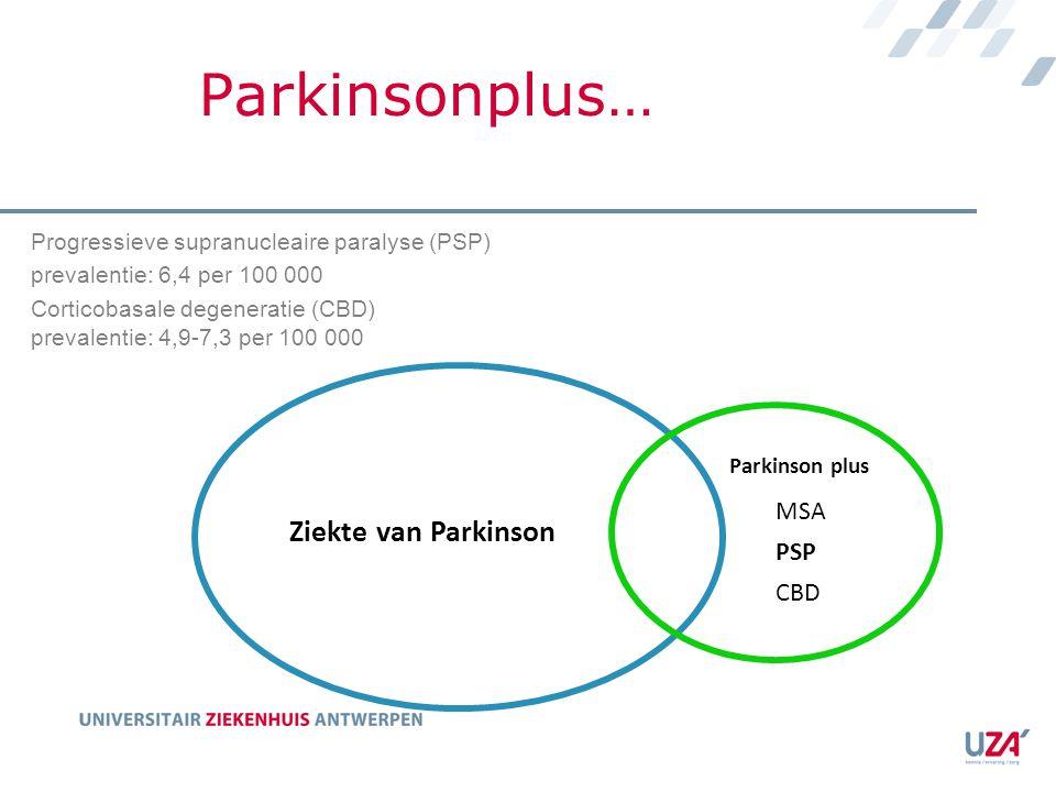 Parkinsonplus… Ziekte van Parkinson Parkinson plus MSA PSP CBD