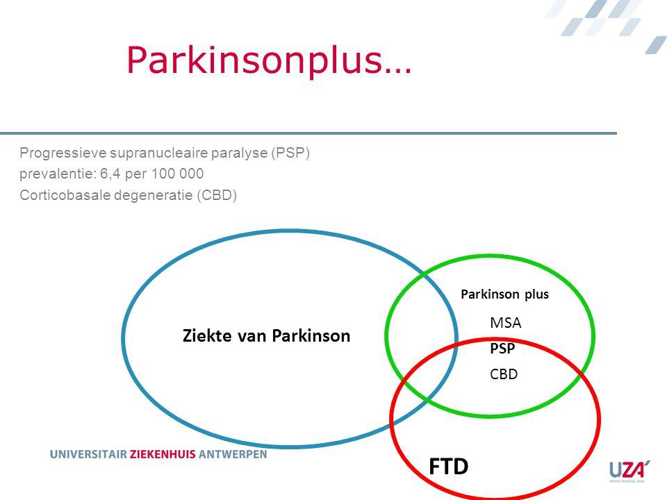 Parkinsonplus… Ziekte van Parkinson FTD Parkinson plus MSA PSP CBD