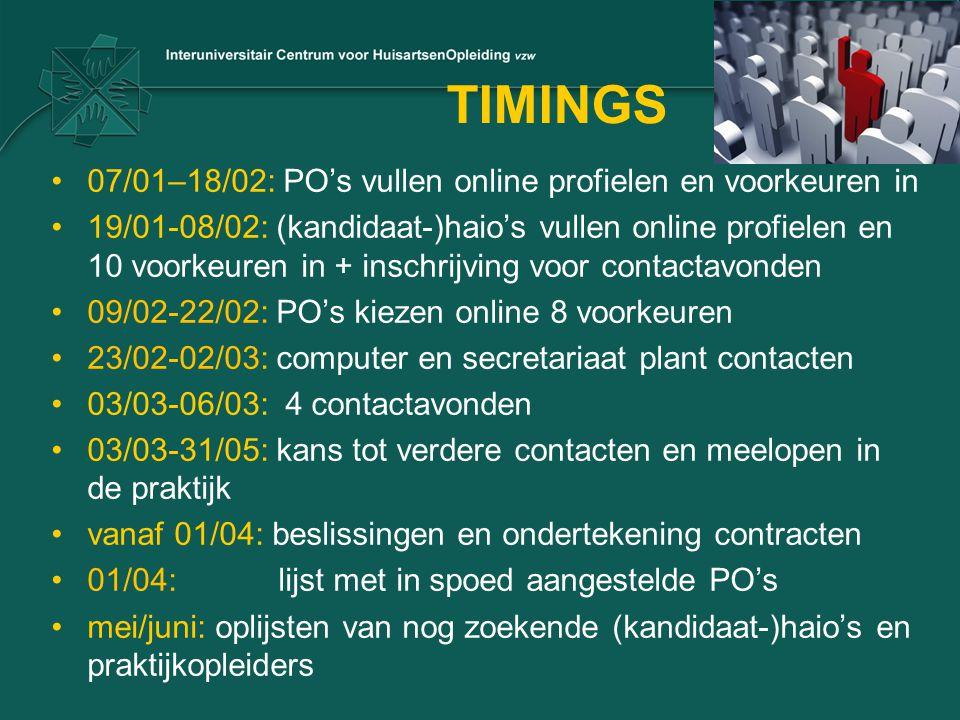 TIMINGS 07/01–18/02: PO's vullen online profielen en voorkeuren in