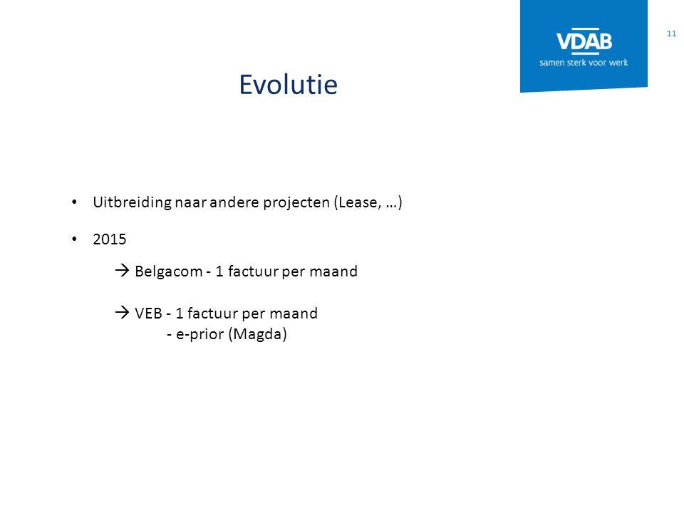 Evolutie Uitbreiding naar andere projecten (Lease, …) 2015