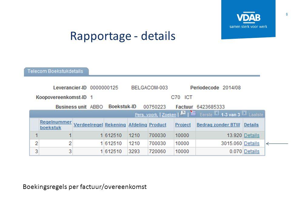Rapportage - details Boekingsregels per factuur/overeenkomst