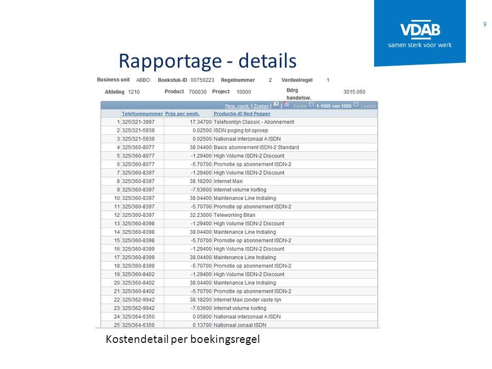 Rapportage - details Kostendetail per boekingsregel