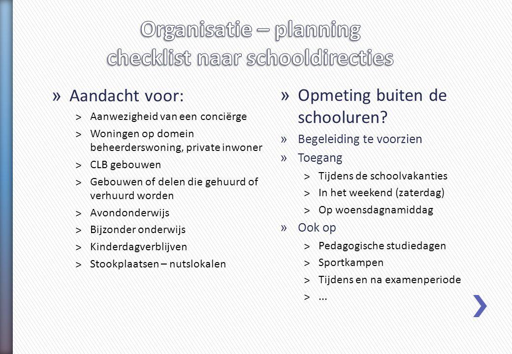 Organisatie – planning checklist naar schooldirecties