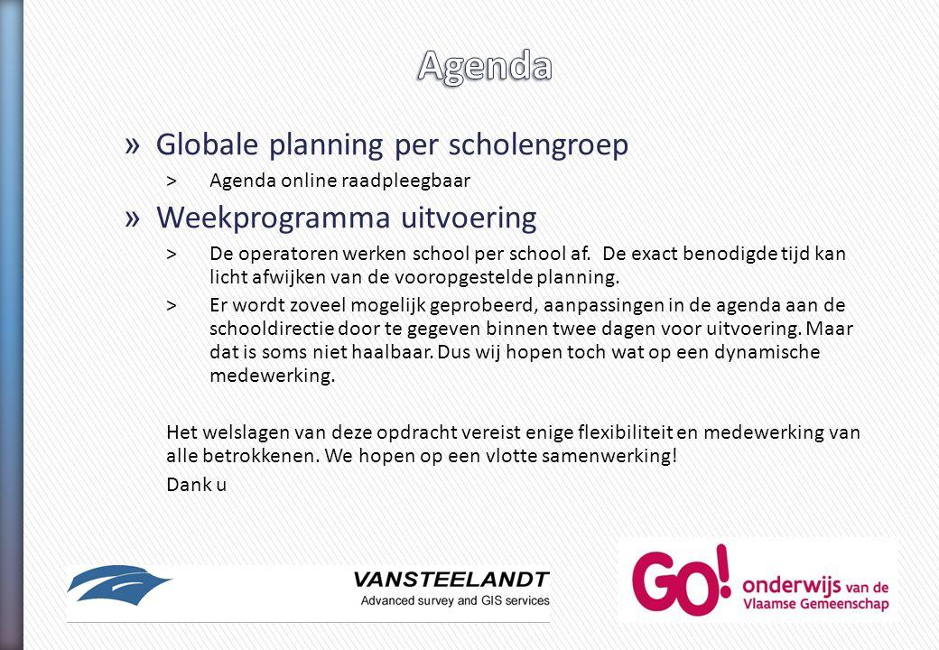 Agenda Globale planning per scholengroep Weekprogramma uitvoering