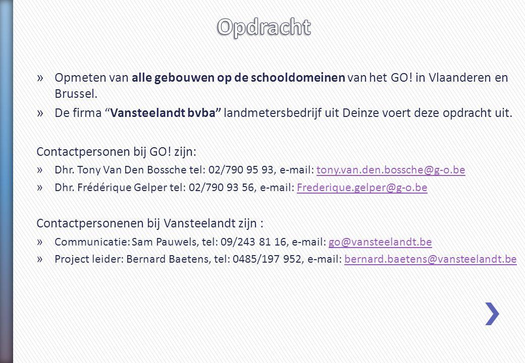 Opdracht Opmeten van alle gebouwen op de schooldomeinen van het GO! in Vlaanderen en Brussel.