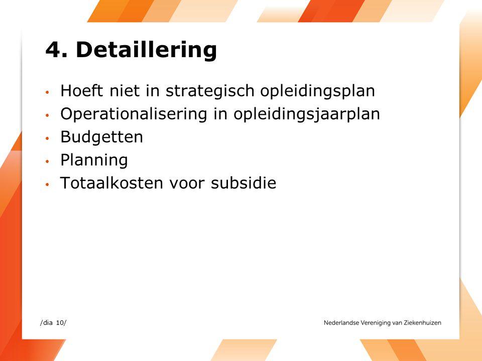 4. Detaillering Hoeft niet in strategisch opleidingsplan