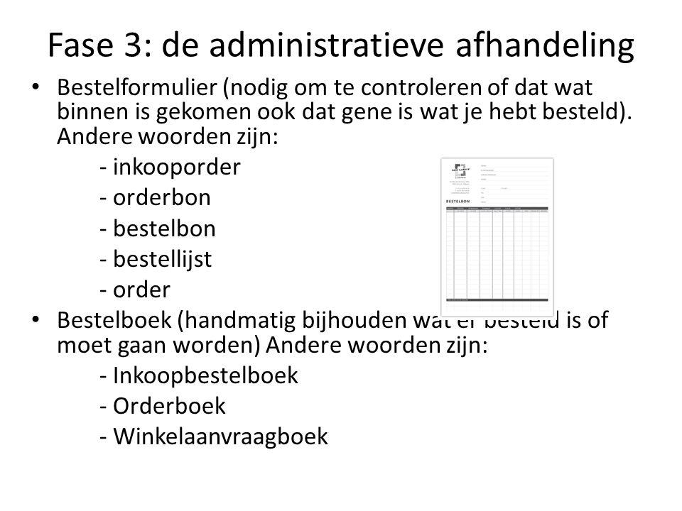 Fase 3: de administratieve afhandeling