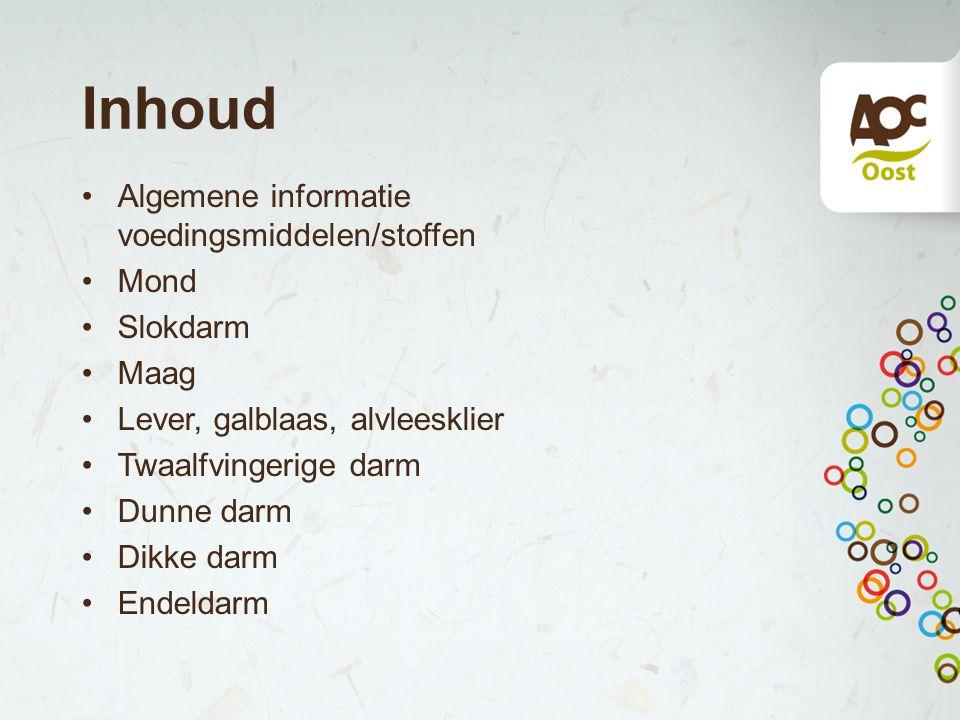 Inhoud Algemene informatie voedingsmiddelen/stoffen Mond Slokdarm Maag