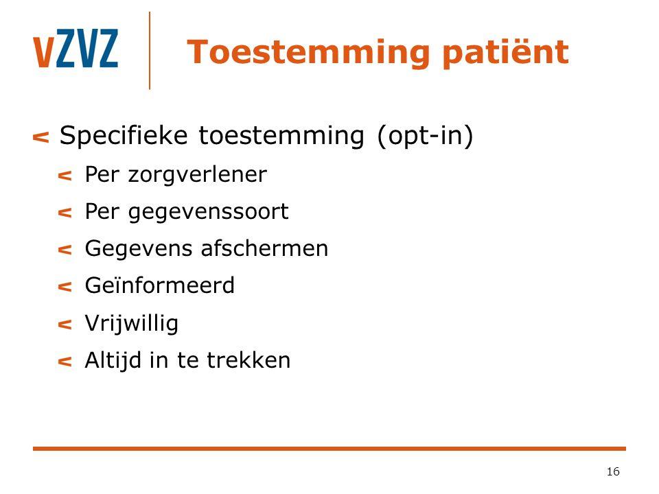 Toestemming patiënt Specifieke toestemming (opt-in) Per zorgverlener
