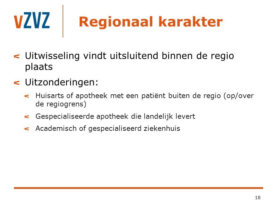 Regionaal karakter Uitwisseling vindt uitsluitend binnen de regio plaats. Uitzonderingen: