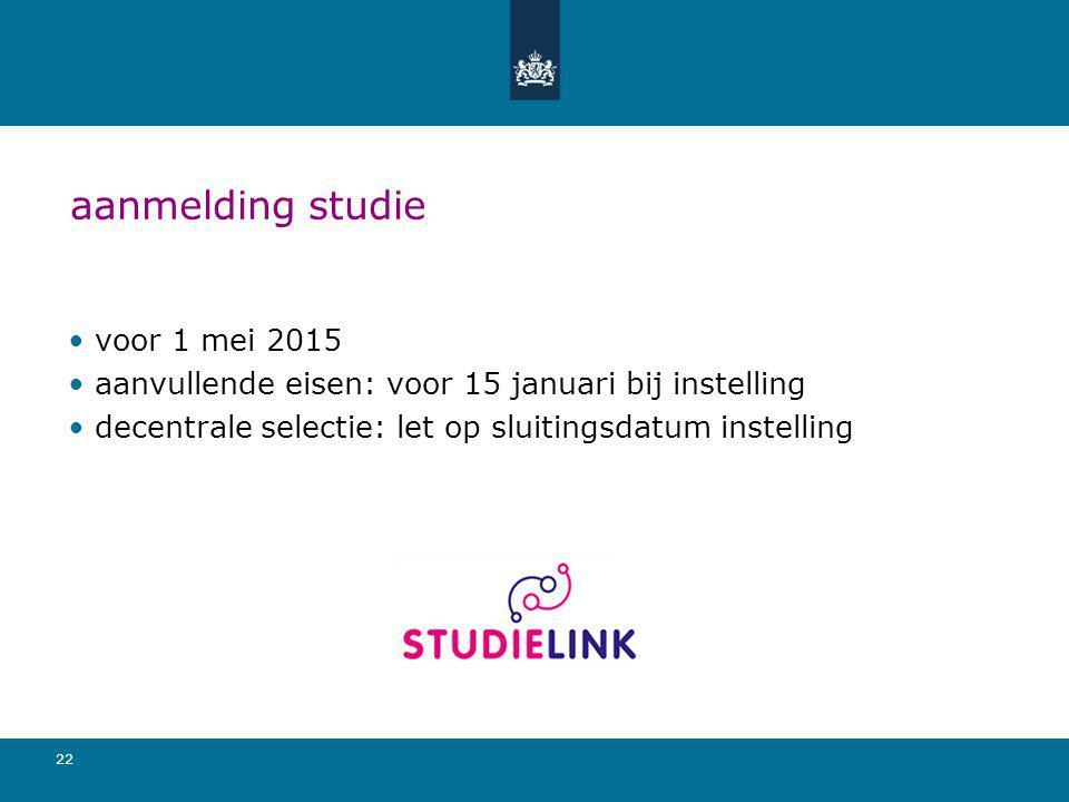 aanmelding studie voor 1 mei 2015